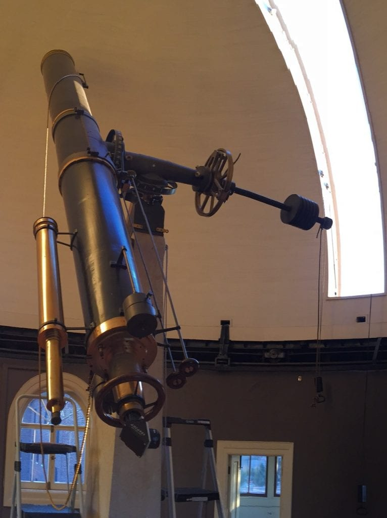 "Fitz 12"" refractor endview and open dome slit"